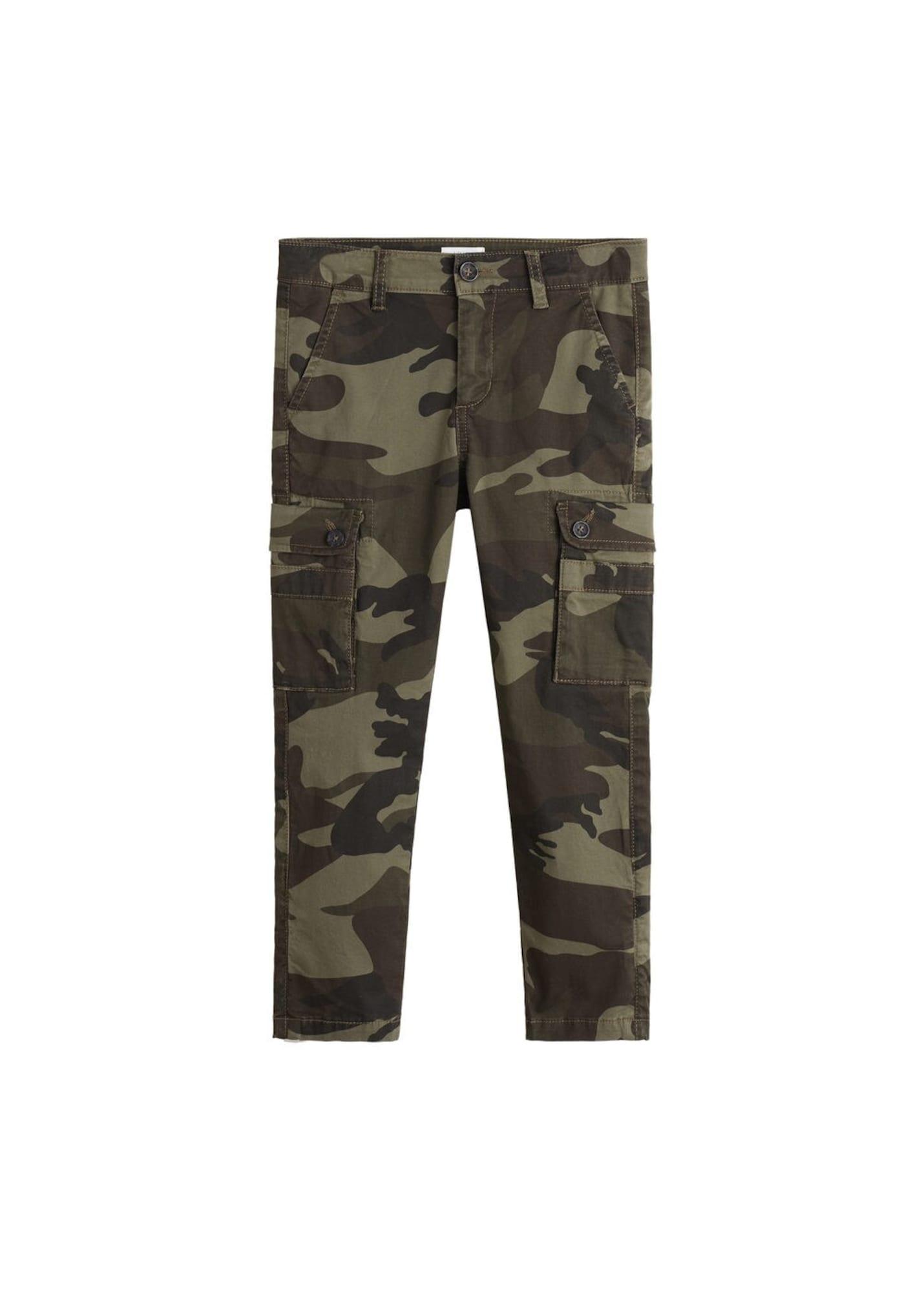 MANGO KIDS Kalhoty  tmavě zelená / khaki