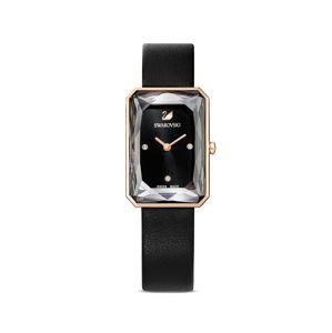 Swarovski Analogové hodinky 'Uptown'  růžově zlatá / černá
