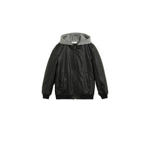 MANGO KIDS Přechodná bunda  šedá / černá