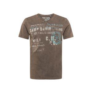 CAMP DAVID Tričko  hnědá / bílá / světlemodrá
