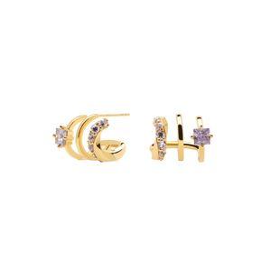 P D PAOLA Náušnice 'Royal'  zlatá / fialová