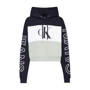 Calvin Klein Jeans Mikina  bílá / zelená / černá