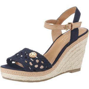 TOM TAILOR Páskové sandály  světle béžová / kobaltová modř