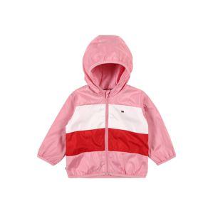 TOMMY HILFIGER Přechodná bunda  pink / bílá / červená