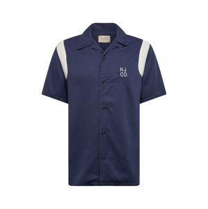 Nudie Jeans Co Košile 'Jack Bowling'  noční modrá / přírodní bílá