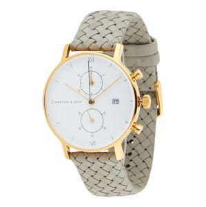 Kapten & Son Analogové hodinky  šedá / zlatá / bílá