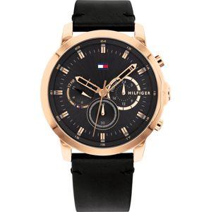 TOMMY HILFIGER Analogové hodinky  černá / růžově zlatá