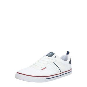 MUSTANG Sportovní šněrovací boty  bílá / tmavě červená / námořnická modř